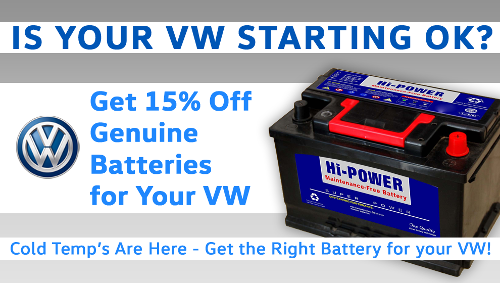 15% Off Genuine VW Batteries