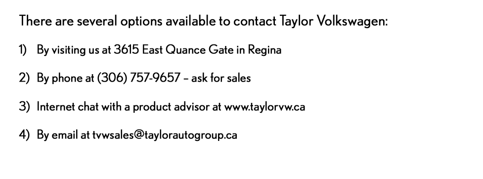 TVW - Taylor Your Way - contact us